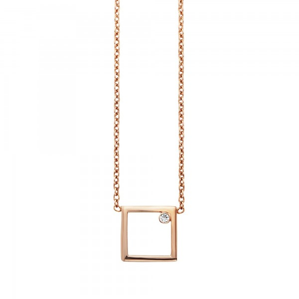 cai Collier 925/- Sterling Silber rotvergoldet Rechteck Zirkonia