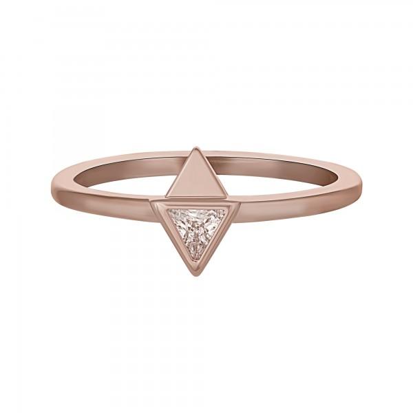 cai Ring 925 Silber rosévergoldet mit Zirkonia Dreieck