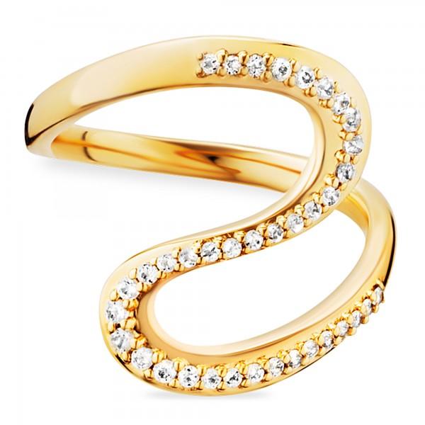 cai 925/- Sterling Silber gelb vergoldet Topas Ring