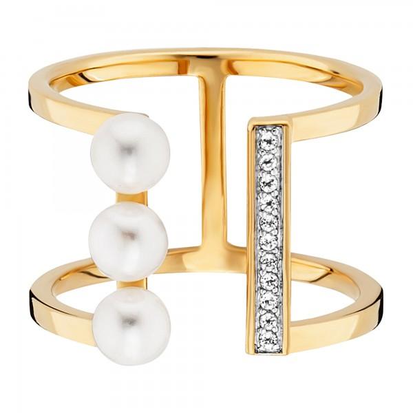 cai Ring 925/- Sterling Silber vergoldet Perlen Topas