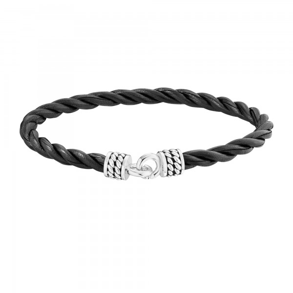 cai Armband 925/- Sterling Silber rhodiniert Lederband 21cm
