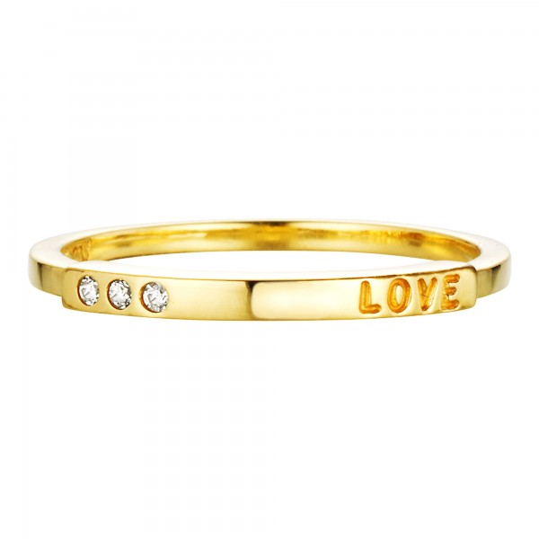 cai Ring 925/- Sterling Silber vergoldet Zirkonia Love