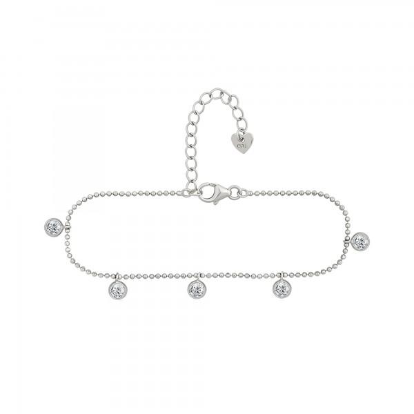 cai Armband 925/- Sterling Silber rhodiniert Anhänger rund Zirkonia