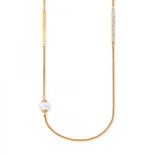 cai 925/- Sterling Silber vergoldet Perle + Topas Collier