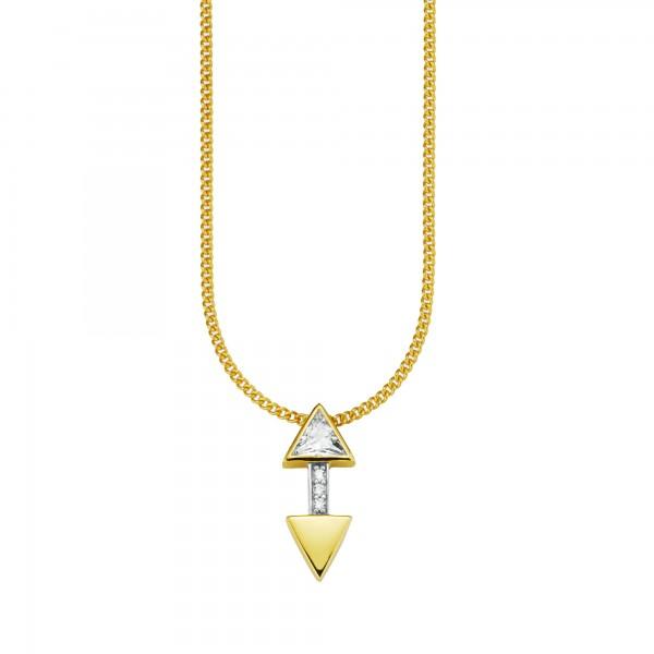cai Anhänger mit Kette 925/- Sterling Silber vergoldet Zirkonia Pfeile