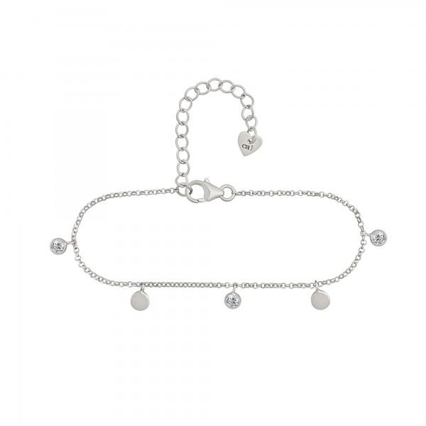 cai Armband 925/- Sterling Silber rhodiniert Anhänger Plättchen Zirkonia