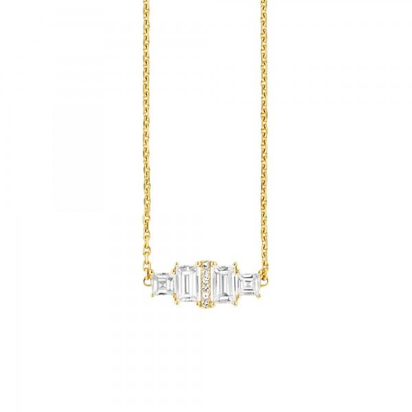 cai Collier 925/- Sterling Silber vergoldet Weißtopas 45cm