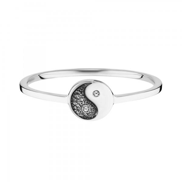 cai Ring 925/- Sterling Silber rhodiniert Zirkonia Yin Yang