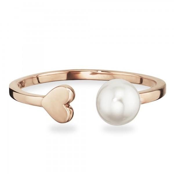 cai Ring 925/- Sterling Silber rotvergoldet Perle Herz