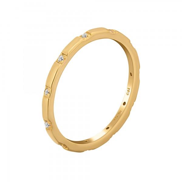 cai Ring 925 Silber vergoldet mit Zirkonia Stacking