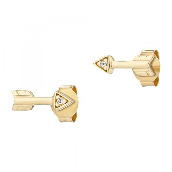 cai Ohrstecker 925/- Sterling Silber vergoldet Zirkonia Pfeile