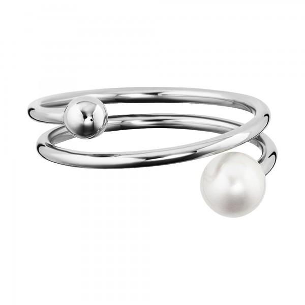 cai Ring 925/- Sterling Silber rhodiniert Perle