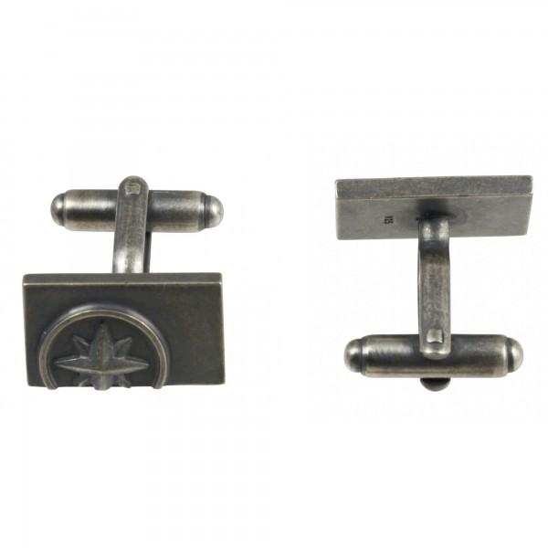 cai Manschettenknöpfe 925/- Sterling Silber oxidiert Kompassrose