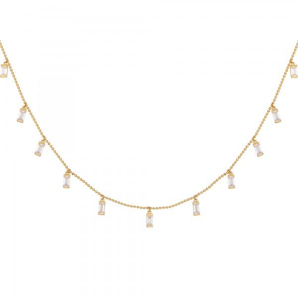 cai Collier 925/- Sterling Silber vergoldet Anhänger Zirkonia Baguette