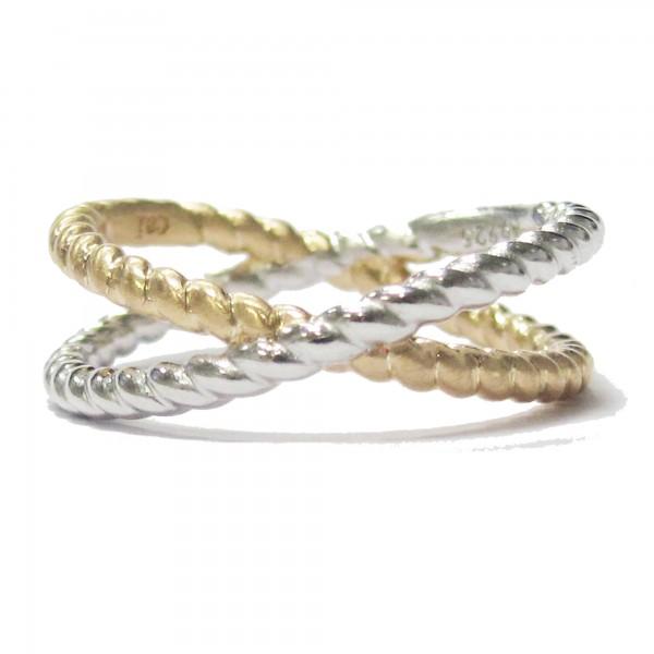 cai Ring 925/- Sterling Silber bicolor vergoldet