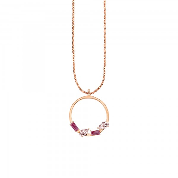 cai Halskette 925/- Sterling Silber rotvergoldet Rhodolith Rosenquarz