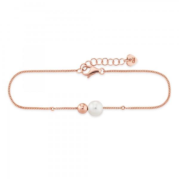 cai Armband 925/- Sterling Silber rotvergoldet Perle