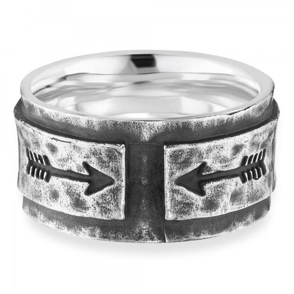 cai Ring 925/- Sterling Silber rhodiniert matt Pfeile