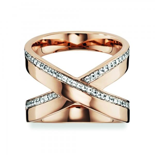 cai Ring 925/- Sterling Silber rotvergoldet Topas weiß