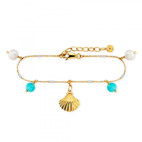 cai Armband 925/- Sterling Silber bicolor Amazonit Perle