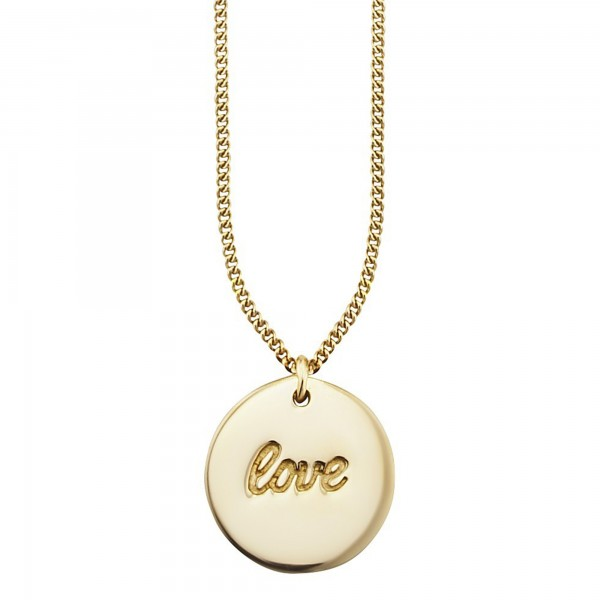 cai Anhänger mit Kette 925/- Sterling Silber vergoldet LOVE