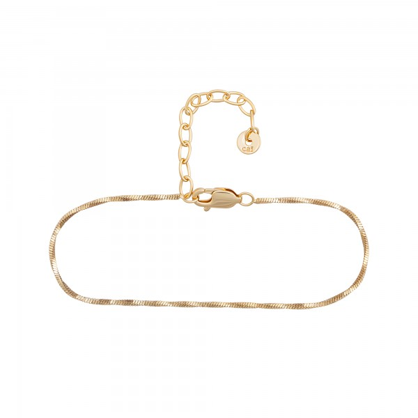 cai Armband 925/- Sterling Silber vergoldet Schlangenkette vierseitig diamantiert gedreht
