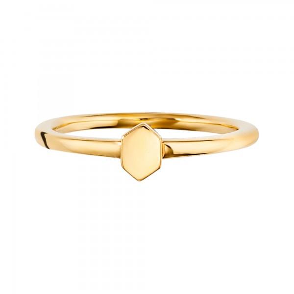 cai Ring 925/- Sterling Silber vergoldet Sechseck Hexagon Wabe