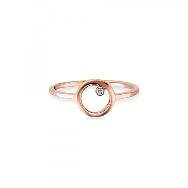 cai Ring 925/- Sterling Silber rotvergoldet Zirkonia Kreis
