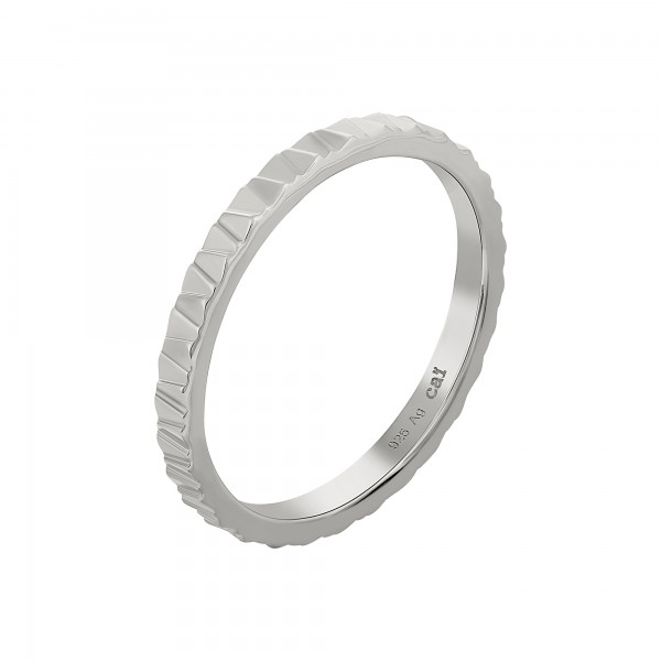 cai Ring 925 Silber rhodiniert Muster Stacking