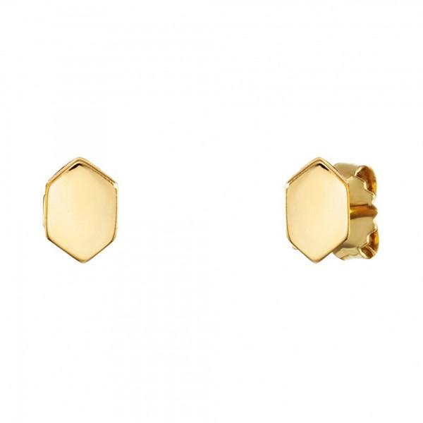 cai Ohrstecker 925/- Sterling Silber vergoldet Sechseck Hexagon Wabe