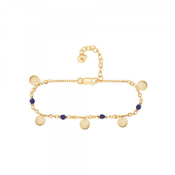cai Armband 925 Silber vergoldet Lapislazuli Plättchen