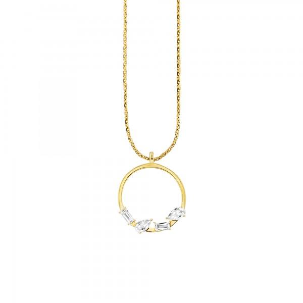 cai Halskette 925/- Silber vergoldet Weißtopas
