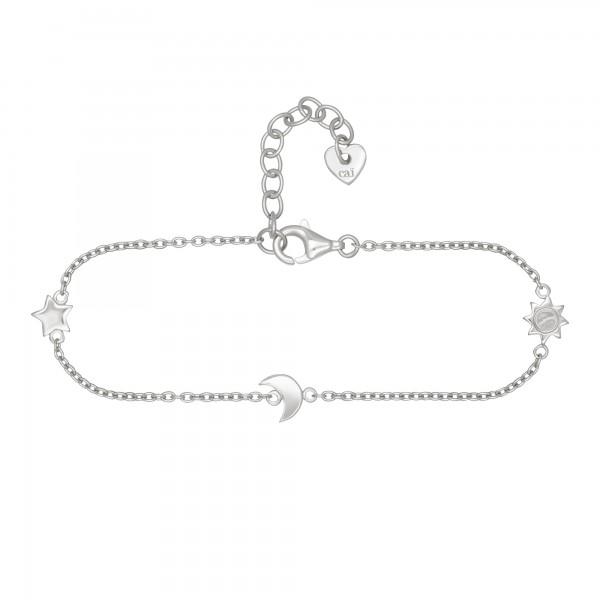 cai Armband 925/- Sterling Silber rhodiniert Sonne - Mond - Stern