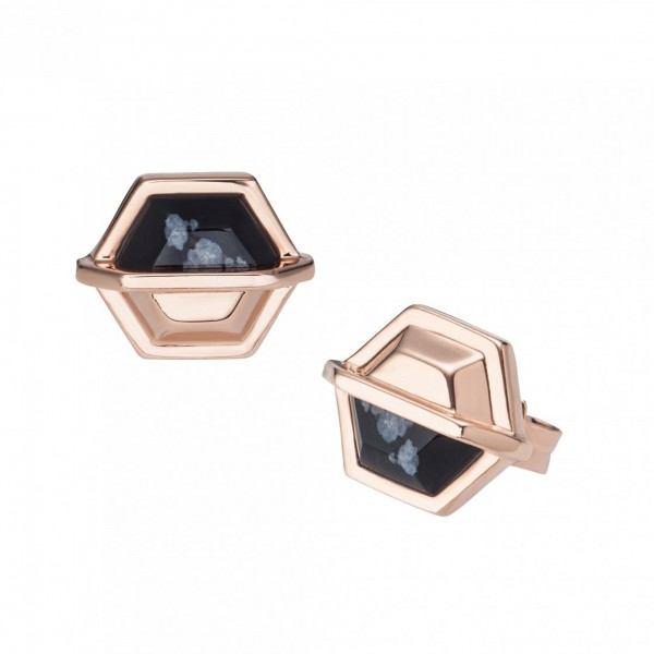 cai 925/- Silber rotvergoldet Hexagon Sechseck Obsidian Ohrstecker