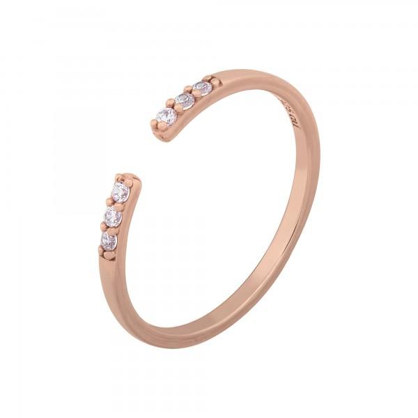 cai Ring 925/- Sterling Silber rosévergoldet offen Zirkonia Stacking