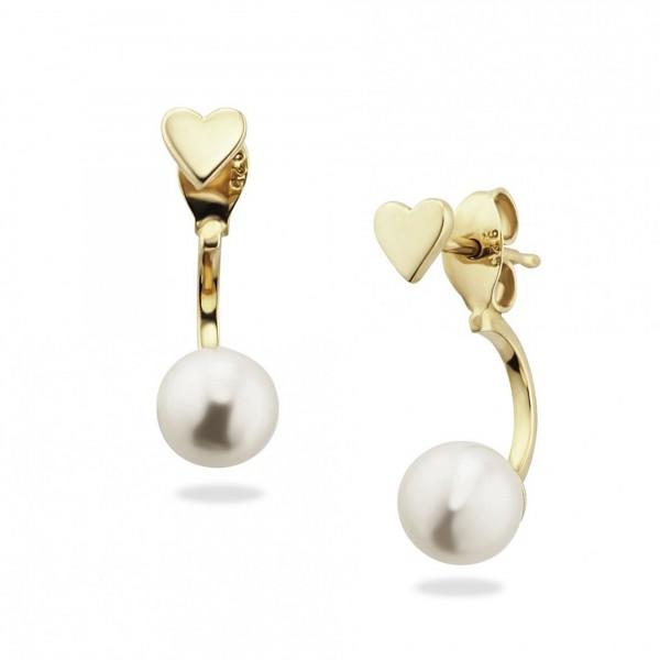 cai Ohrstecker 925/- Sterling Silber vergoldet Perle Herz