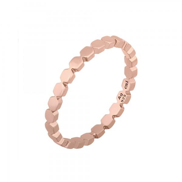 cai Ring 925/- Sterling Silber rosévergoldet Hexagon Stacking