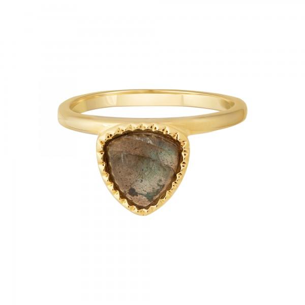 cai Ring 925 Silber vergoldet Dreieck Labradorit