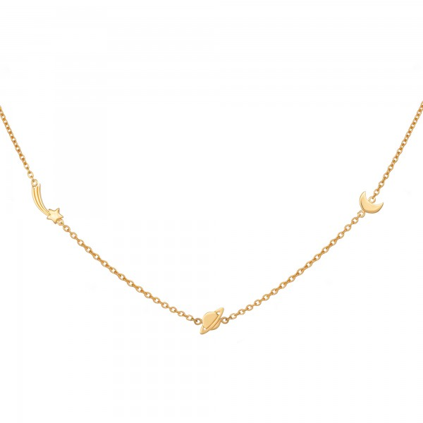 cai Anhänger mit Kette 925/- Sterling Silber vergoldet Sternschnuppe - Saturn - Mond