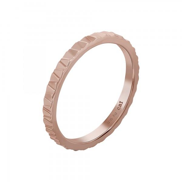 cai Ring 925 Silber rosévergoldet Muster Stacking