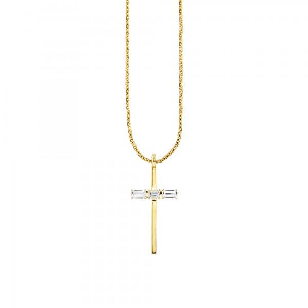 cai Halskette 925/- Sterling Silber vergoldet Kreuz Weißtopas 50cm