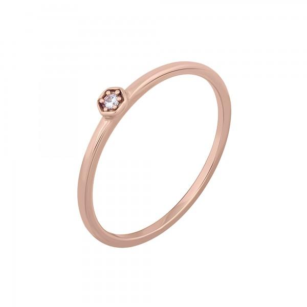 cai Ring 925/- Sterling Silber rosévergoldet Hexagon mit Zirkonia Stacking