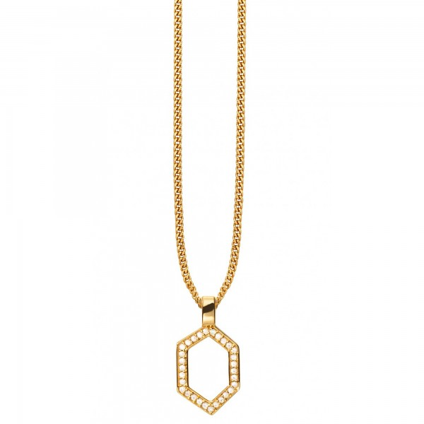 cai Anhänger mit Kette 925/- Sterling Silber vergoldet Hexagon Sechseck Kristalle