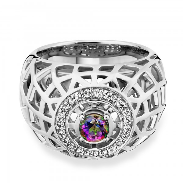 cai Ring 925/- Sterling Silber rhodiniert Topas mystic Gitterstruktur