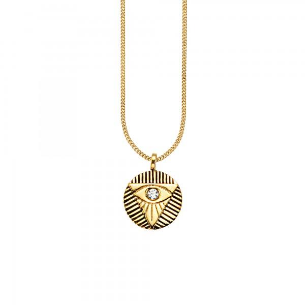 cai Anhänger mit Kette 925/- Sterling Silber vergoldet Zirkonia
