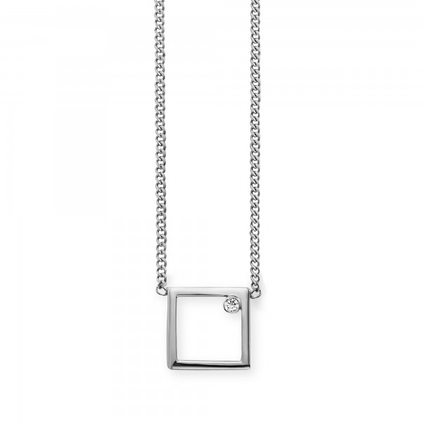 cai Collier 925/- Sterling Silber rhodiniert Rechteck Zirkonia