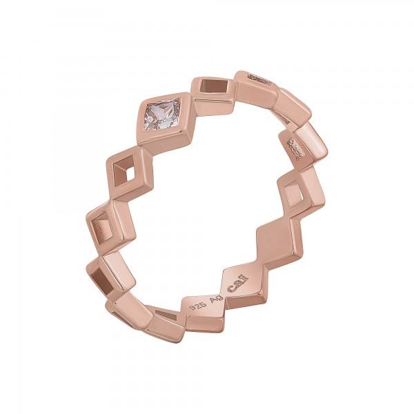 cai Ring 925 Silber rosévergoldet Rauten mit Zirkonia