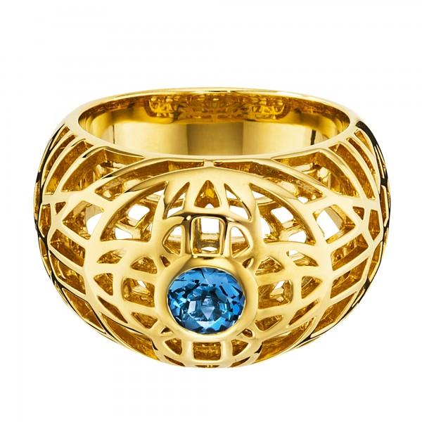 cai 925/- Sterling Silber vergoldet Topas blau Ring