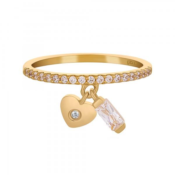 cai Ring 925 Silber vergoldet mit Anhägern Herz Zirkonia