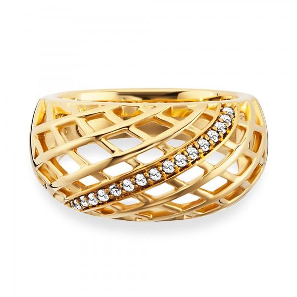 cai Ring 925/- Sterling Silber vergoldet Topas Gitterstruktur